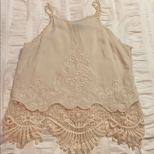 Cream lace tank top